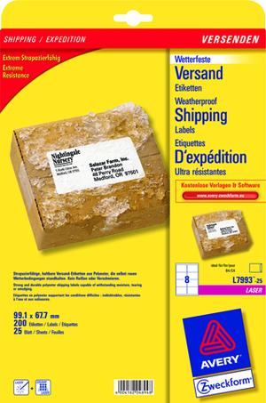 AVERY Zweckform L7993-25 Versandetiketten, 99,1 x 67,7 mm, Deutsche Post INTERNETMARKE, 25 Bogen/200 Etiketten, weiss L7993-25