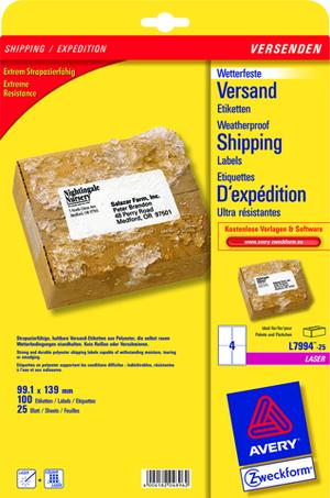 AVERY Zweckform L7994-25 Versandetiketten, 99,1 x 139 mm, Deutsche Post INTERNETMARKE, 25 Bogen/100 L7994-25