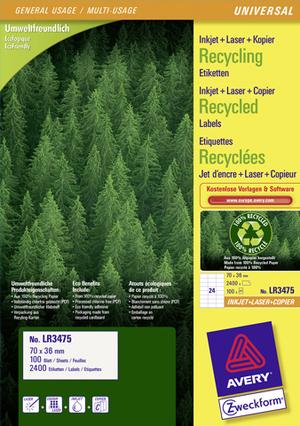 AVERY Zweckform LR3475 Recycling Universal-Etiketten, 70 x 36 mm, Deutsche Post INTERNETMARKE, 100 LR3475