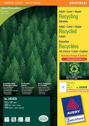 AVERY Zweckform LR3478 Recycling Universal-Etiketten, 210 x 297 mm, 100 Bogen/100 Etiketten, weiss LR3478