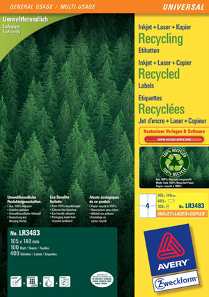 AVERY Zweckform LR3483 Recycling Universal-Etiketten, 105 x 148 mm, Deutsche Post INTERNETMARKE, 100 Bogen/400 Etiketten, weiss LR3483