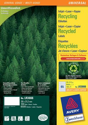 AVERY Zweckform LR3666 Recycling Universal-Etiketten, 38 x 21,2 mm, 100 Bogen/6.500 Etiketten, weis LR3666