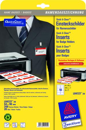 AVERY Zweckform Einsteckschilder Q&C weiss 54x90 mm 20 Blatt 200 Stk. LR4727-20