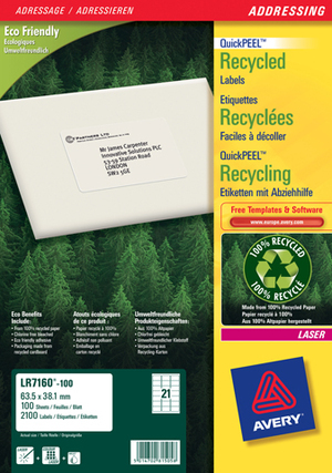 AVERY Zweckform LR7160-100 Recycling Adress-Etiketten, 63,5 x 38,1 mm, C6 Kuverts, Deutsche Post INTERNETMARKE, 100 Bogen/2.100 Etiketten, weiss LR7160-100