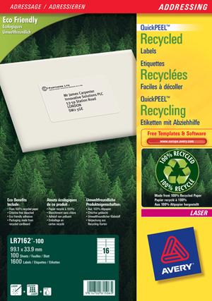 AVERY Zweckform LR7162-100 Recycling Adress-Etiketten, 99,1 x 33,9 mm, DIN lang Kuverts, 100 Bogen/1.600 Etiketten, weiss LR7162-100