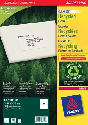 AVERY Zweckform LR7168-100 Recycling Versand-Etiketten, 199,6 x 143,5 mm, Pakete, Päckchen, 100 Bog LR7168-100