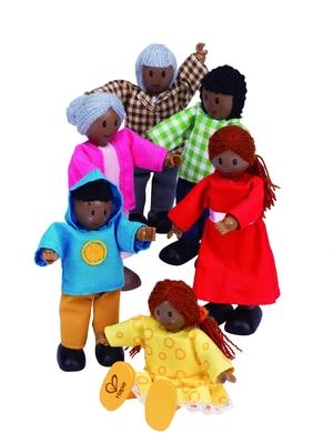 Hape Puppenfamilie dunkle Hautfarbe 6tlg. 46E3501A