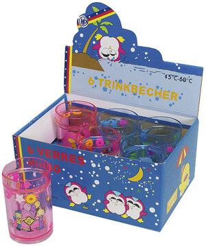 Kinderbecher, 11 cm, Glitter und Schwimmeffekt, 6-fach (eines wird geliefert sortiert, Kunststoff 40110949