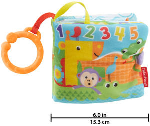 Fisher-Price Kleines Spielbuch Kuschelbuch mit 3 Seiten, 15 cm, ab 0 Monaten 40310440