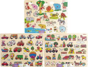Puzzle mit Einlegeteilen 3-fach (eines wird geliefert assortiert, 35x45 cm, Zoo, Bauernhof, Fahrzeuge 3692