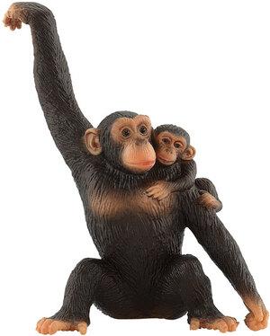 BULLYLAND Schimpansin mit Baby 11 cm, PVC-Frei, naturgetreu und handbemalt 43063594