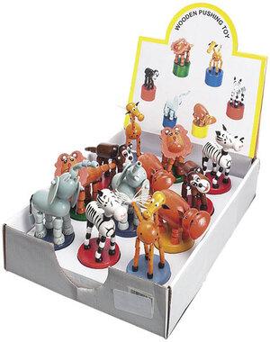 Drücktiere Zoo, 6-fach (eines wird geliefert sortiert, Holz, im Display 43610017