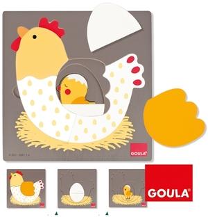 GOULA Puzzle Huhn, 3-lagig 19x19 cm, Holz, 7 Teile, ab 2 Jahren 45753027