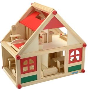 Beluga Puppenhaus mit Möbeln 39x24x36.5 cm, Holz, mit 4 Möbelsets, ab 3 Jahren 60970131