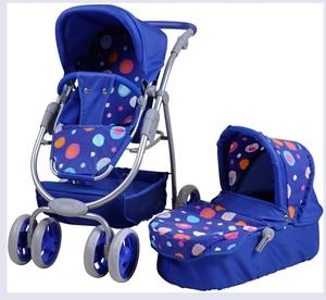 knorrtoys Puppenkombiwagen Coco blau mit Punkten, 58x38x65 cm, umbaubar in Sportwagen 50261712