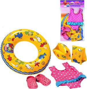 Heless Puppenschwimmset 6-teilig Badeanzug, Clogs, Flügeli und Schwimmring 55500088