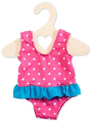 Heless Badeanzug Puppe 28-35 cm pink mit weissen Punkten und blauen Rüschen 55501886