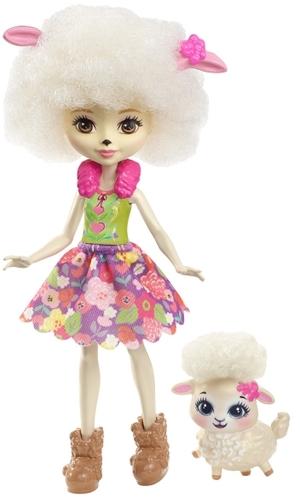 ENCHANTIMALS Schafmädchen Lorna Lamb, Puppe 15 cm mit Lämmchen, ab 4 Jahren 57005065