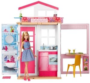Barbie Ferienhaus & Puppe zwei Etagen, mit Möbeln und Zubehörteilen, ab 3 Jahren 57018048