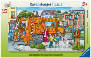 Ravensburger Puzzle Unterwegs mit der Müllabfuhr, 15 Teile, Rahmen 25x14.5 cm, ab 3 J. 60006162