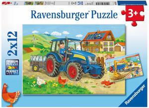 Ravensburger Puzzle Baustelle u.Bauernhof 2x12 Teile, 26x18 cm, ab 3 Jahren 60007616