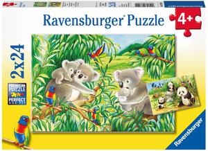 Ravensburger Puzzle Süsse Koalas u.Pandas 2x24 Teile, 26x18 cm, ab 4 Jahren 60007820