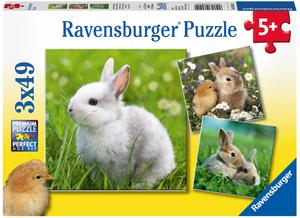 Ravensburger Puzzle Niedliche Häschen 3x49 Teile, 21x21 cm, ab 5 Jahren 60008041
