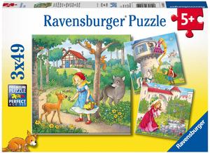 Ravensburger Puzzle Rapunzel, Rotkäppchen und Froschkönig, 3x49 Teile, 21x21 cm, ab 5 Jahren 60008051