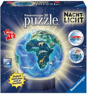 Ravensburger Puzzleball Erde Nachtlicht 72 Teile, Kunststoff, 6-10 Jahre, ø 13 cm 60011844