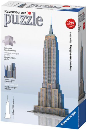 Ravensburger Puzzle 3D Empire State Buil- ding, 216 Teile Kunststoff, ab 12 Jahren, 7x14x47 cm 125531