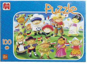 Puzzle 100 Teile, Kinder der Welt, 4 Motive sortiert ausgelegt: je 35x25cm 2120