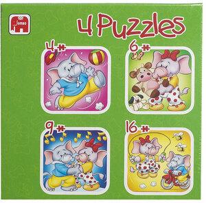 Jumbo Puzzle 4 in 1 Jumbo der Elefant, 4-6-9-16 Teile 2130Z99