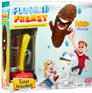 """Mattel Flush n'Frenzy, d/f/i ab 5 Jahren, 2-4 Spieler, wer fängt die """"Kacke""""? 60500130"""