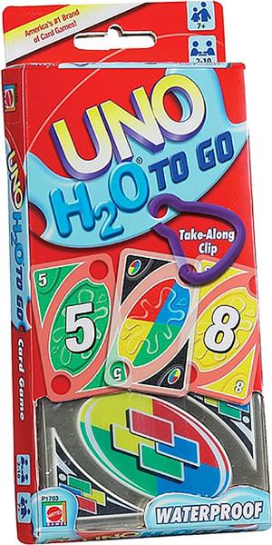 Mattel UNO H2O To Go, d/f/i ab 7 Jahren, 2-10 Spieler, 108 wasserfeste Karten