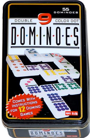 Weible Spiele Domino Color 9, 55 Steine in Blechdose, weisse Steine aus Kunstharz 50x25x10 mm 60515102