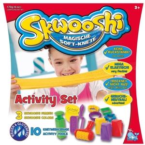 Beluga Knete Skwooshi Activity Set mit 10-teiligem Zubehör, 170 g Knete in 3 Farben 60907004