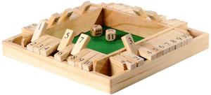 Longfield Games Shut the Box mit 4 Seiten 29x29x4 cm, Holz, Klappenspiel 61000407
