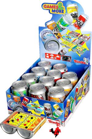 Simba Reisespiele in Dose 6-fach (eines wird geliefert sortiert,Kunststoff,13x10cm 12 Stück in Displ 61070130