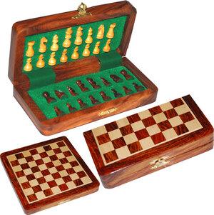 Weible Spiele Reiseschachspiel magnetisch 19x19 cm, König 33 mm, Palisander und Ahorn 61203058