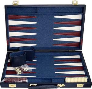 Weible Spiele Backgammon Koffer blau gross 46x28 cm, Kunstleder, mit 2 ovalen Würfelbechern 61240180