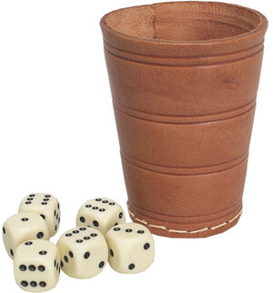 Weible Spiele Würfelbecher mit 6 Würfeln Rindsleder natur, ø 6.5 cm, Höhe 8.5 cm, Würfel 16 mm 61550523