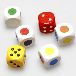 Weible Spiele Würfel-Set, 6 Stück 16 mm, Holz, 4 Farbwürfel, 2 Augwürfel in Klarsichtbox 61940010