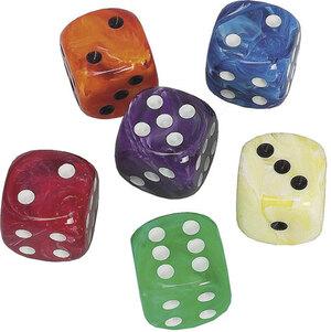 Weible Spiele Würfel Marmor, 6 Stück 16 mm, Acrylglas, Farben assortiert, in Klarsichtbox 61940041