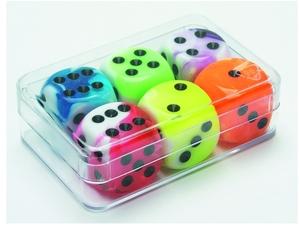 Weible Spiele Würfel Flashy ass. 6 Stück 16 mm, Acrylglas, in Klarsichtbox 61940043