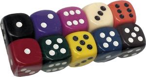 Weible Spiele Würfel uni, gross, Acryl 25 mm, Farben assortiert 61940325