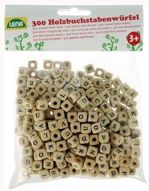 LENA Buchstabenwürfel 300 Stück 10 mm, mit Bohrung zum Auffädeln geeignet, ab 3 J. 63732005