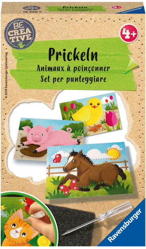 Ravensburger Prickeln, d/f/i Filzunterlage, Prickelnadel, 10 Bildvorlagen, ab 4 Jahren 64718229