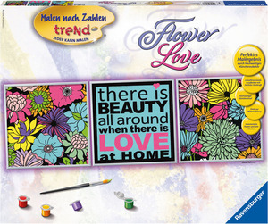 Ravensburger Malset Flower Love Malen nach Zahlen Trend, 1 Motiv, 3 Teile, 90x30 cm 64728973