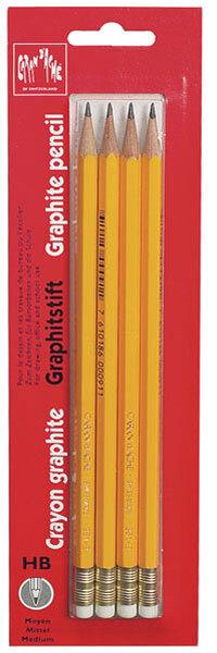 Caran d'Ache Bleistift CDA, gelb, 4 Stück mit Gummi, Härte HB, SB-Packung 46372
