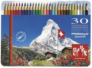 Caran d'Ache Farbstifte Prismalo 30 Stück in Metallschachtel, Aquarellstifte wasserlöslich 430999330
